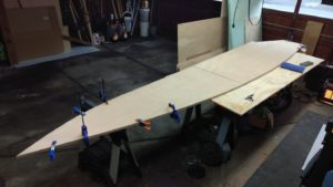 Boat Bottom Panels Laid Out and Assembled